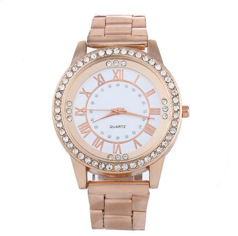 Diamond Roman Scale Stainless Steel Quartz Men Watch - ROSE GOLD