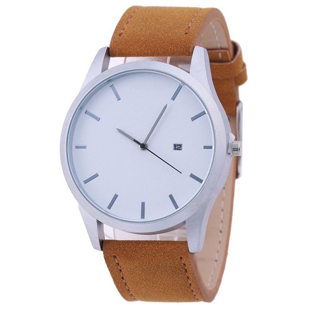 Fashion Big Dial Men Casual Watches - BROWN
