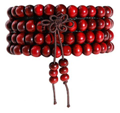 Bow Rosewood 108 Wooden Beads Bracelet Men Lady Jewelry Gifts - RED WINE