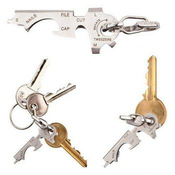 Multifunction Stainless Steel 8 in 1 Portable Key Clip Holder Gadget - SILVER