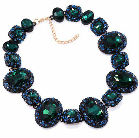 European and American Popular Manufacturers Selling Chain Thick Crystal Necklace - DARK FOREST GREEN