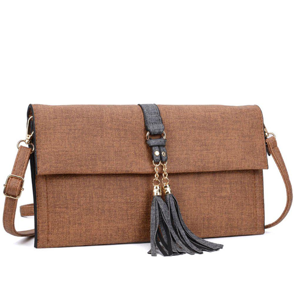 Women's  Tassel Decorative Ladylike Shoulder Bag - CINNAMON