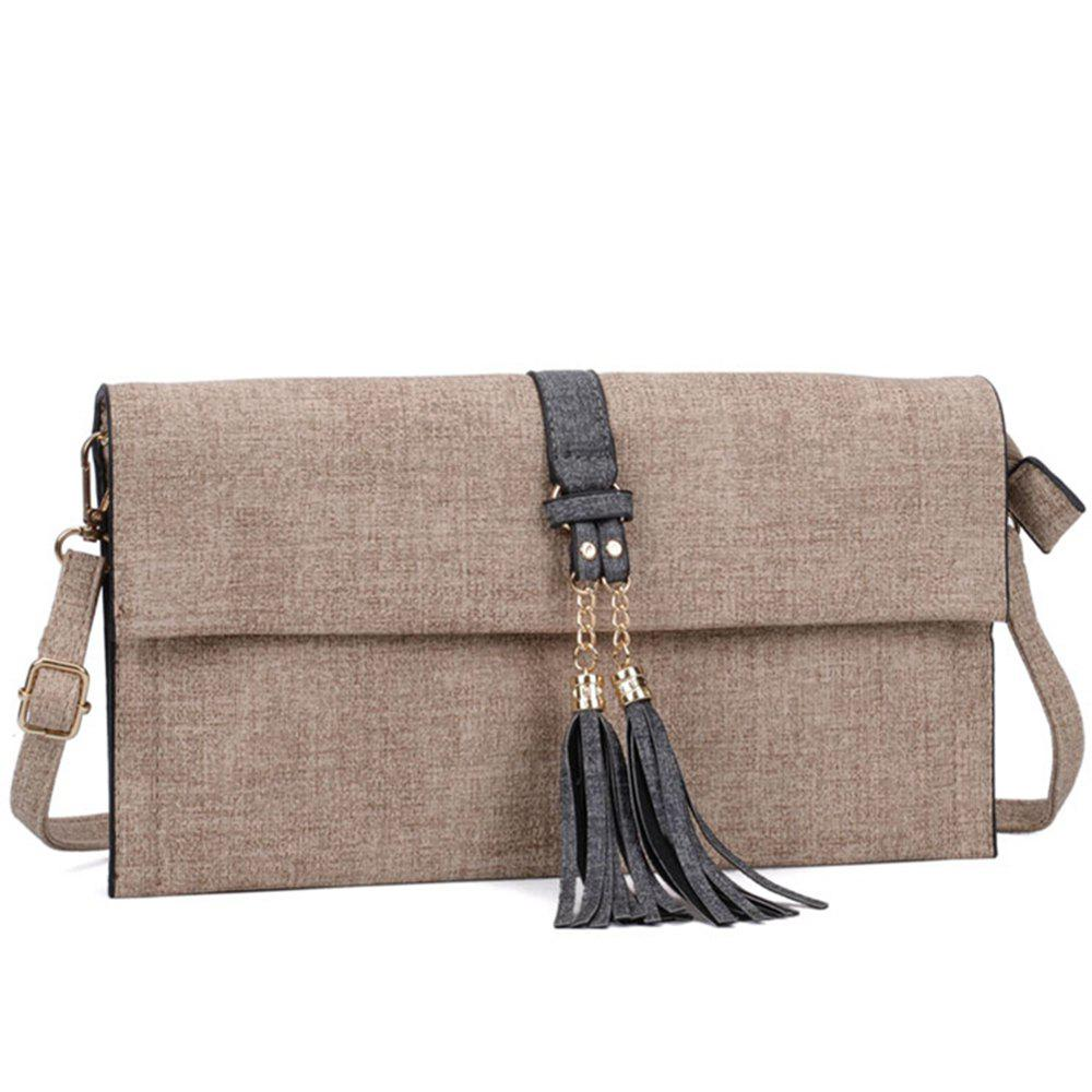 Women's  Tassel Decorative Ladylike Shoulder Bag - LIGHT KHAKI