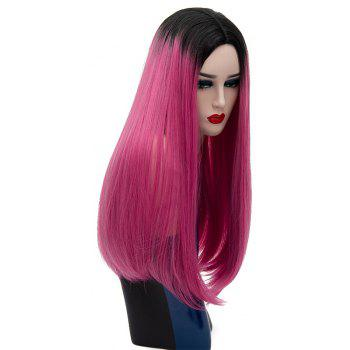 Fashion Natural Long Straight Red Bob Hair for Women Heat Resistant Wig 24 inch - ROSE RED
