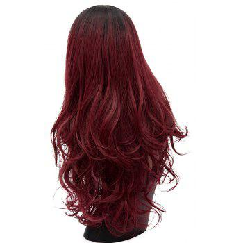 Long Curly Wig Red Bob Hair for Women Party Black to Red Heat Resistant 29 inch - RED WINE