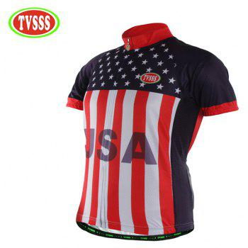 TVSSS Men Summer Short Sleeve USA Flag Clothes Bike Jersey Sportswear - multicolor M