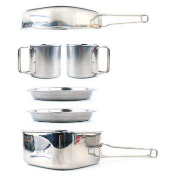 6PC Camping Cookware Mess Kit Backpacking Camp Pot Bowls - WHITE