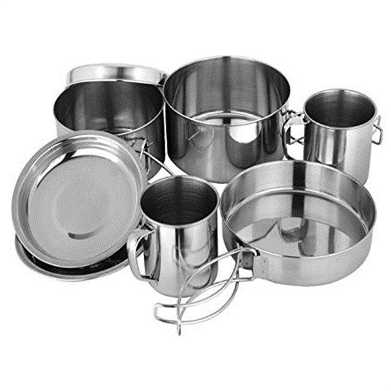 8PC Stainless Steel Picnic Pot Kit Camping Backpacking Hiking Cookware Set - WHITE