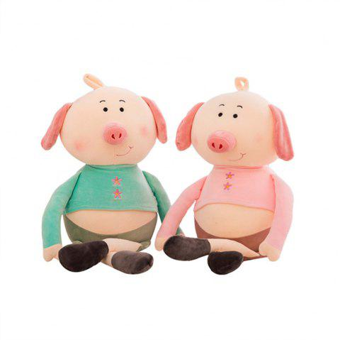 Plush Toys Eiderdown Cotton Software to Lie Prone Pig Doll 2pcs - multicolor 40CM