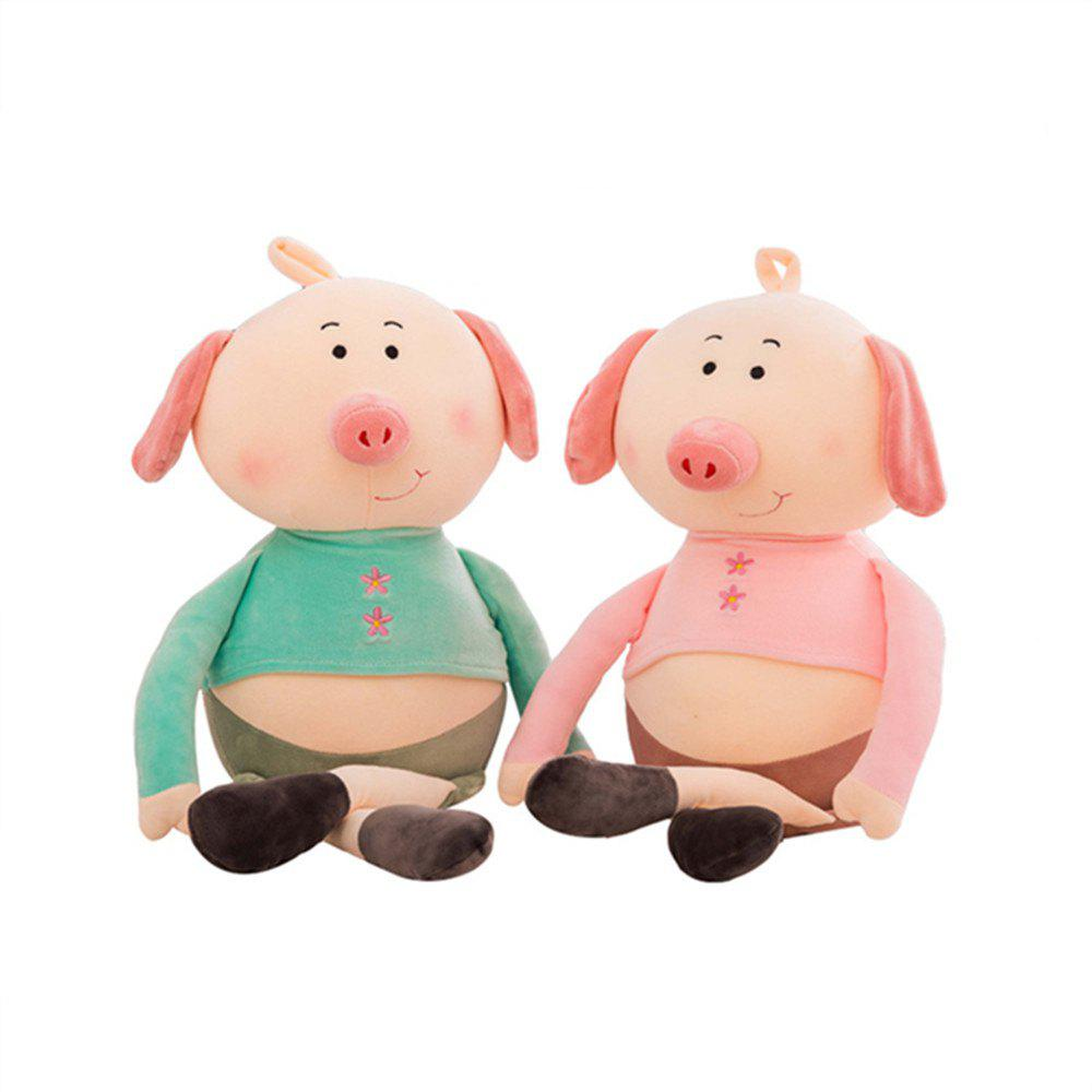 Plush Toys Eiderdown Cotton Software to Lie Prone Pig Doll 2pcs - multicolor 45CM