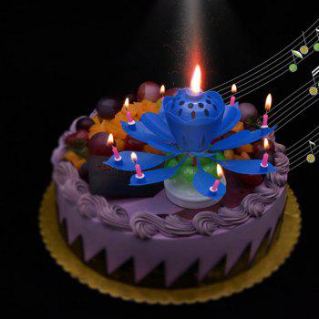 Cake Topper Party Romantic Birthday Candle Lotus Light Lamp - BLUE