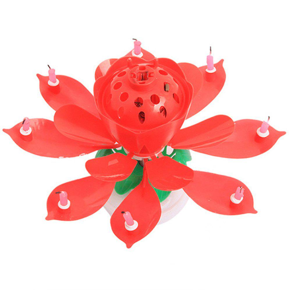 Cake Topper Party Romantic Birthday Candle Lotus Light Lamp - RED