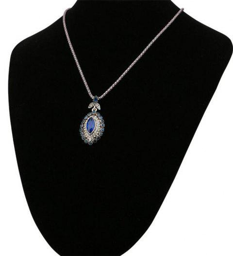 Fashion Diamond Leaf Flowers Eye Sapphire Necklace Woman - SAPPHIRE BLUE