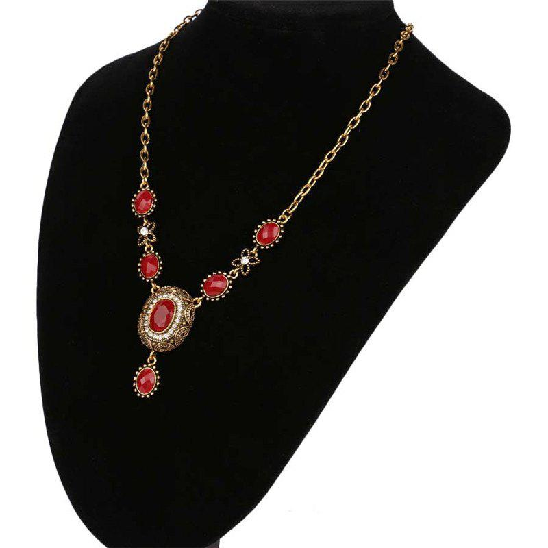 Fashion Exaggerated Elliptical Diamond Green Ruby Pendant Necklace Woman - RED