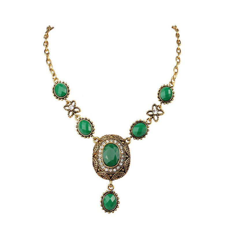 Fashion Exaggerated Elliptical Diamond Green Ruby Pendant Necklace Woman - GREEN