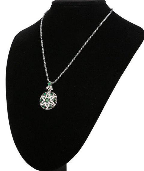 Fashion Round Diamond-Encrusted Crystal Starfish Flower Pendant Necklace Woman - GREEN