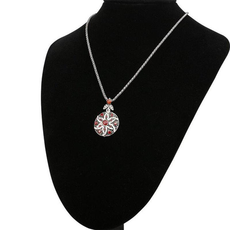Fashion Round Diamond-Encrusted Crystal Starfish Flower Pendant Necklace Woman - RED