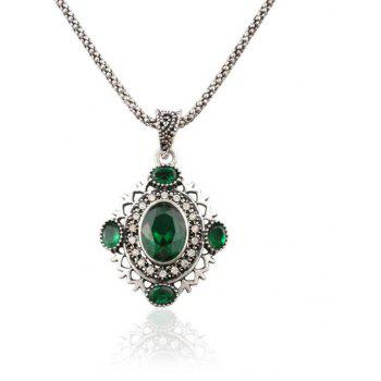 Fashion Diamond Oval Hollowed Green Crystal Pendant Necklace Woman - GREEN
