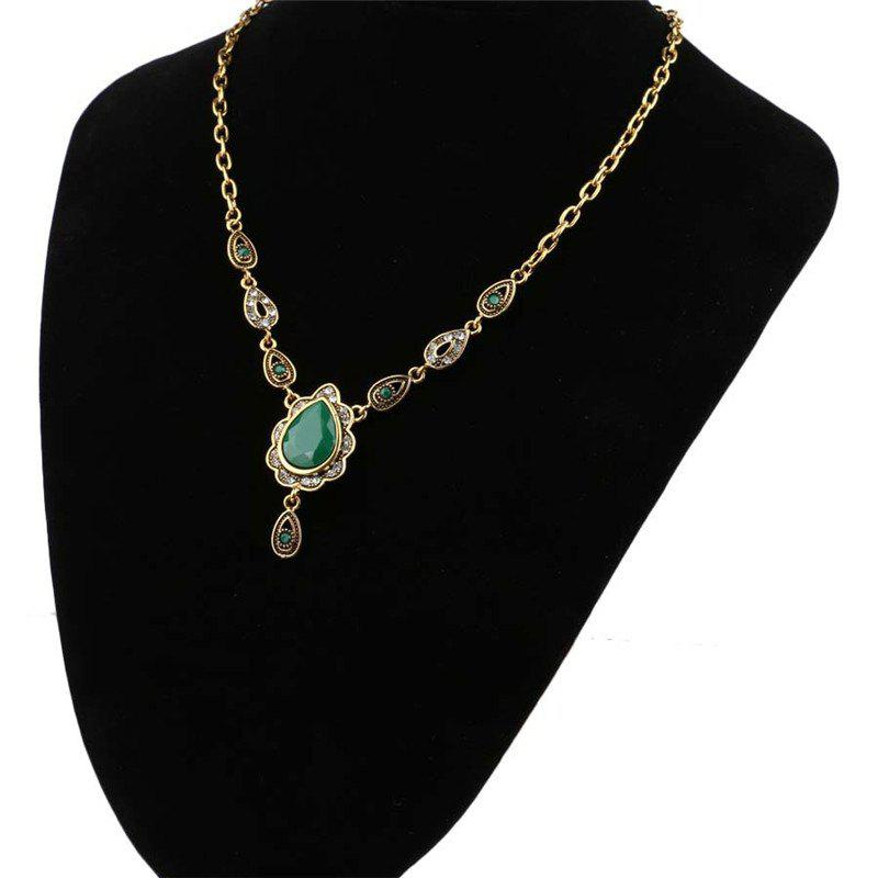 Fashion Exaggerated Diamond Drop Emerald Pendant Necklace Woman - GREEN