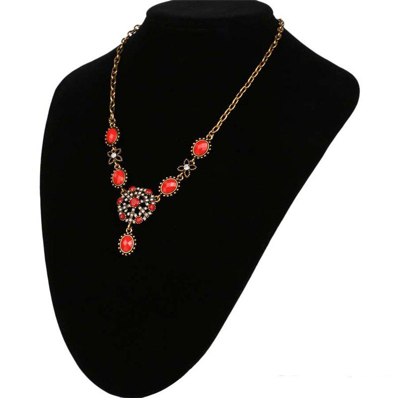 Fashion Exaggerated Round Diamond Ruby Snowflake Pendant Necklace Women - RED