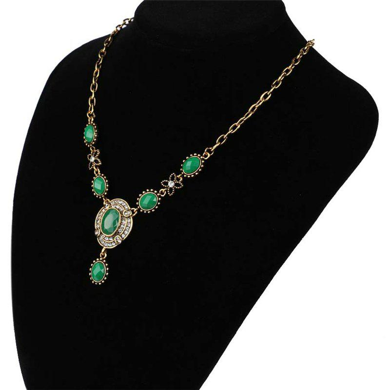 Fashion Exaggerated Diamond Emerald Oval Pendant Necklace Woman - GREEN