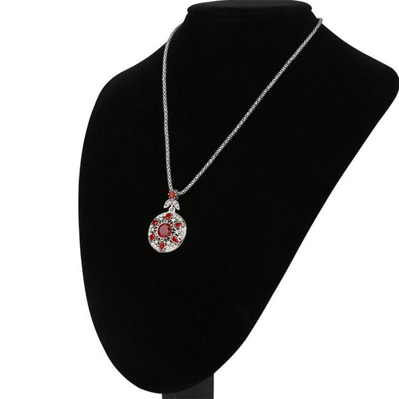 Fashion Diamond Round Green Ruby Leaf Flower Pendant Necklace Woman - RED