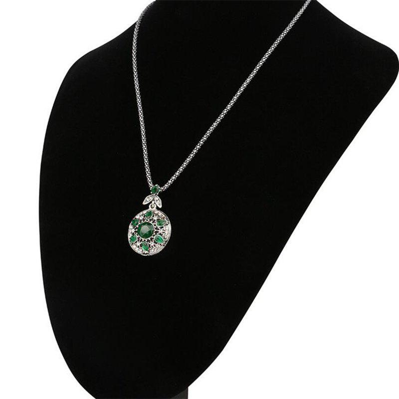 Fashion Diamond Round Green Ruby Leaf Flower Pendant Necklace Woman - GREEN