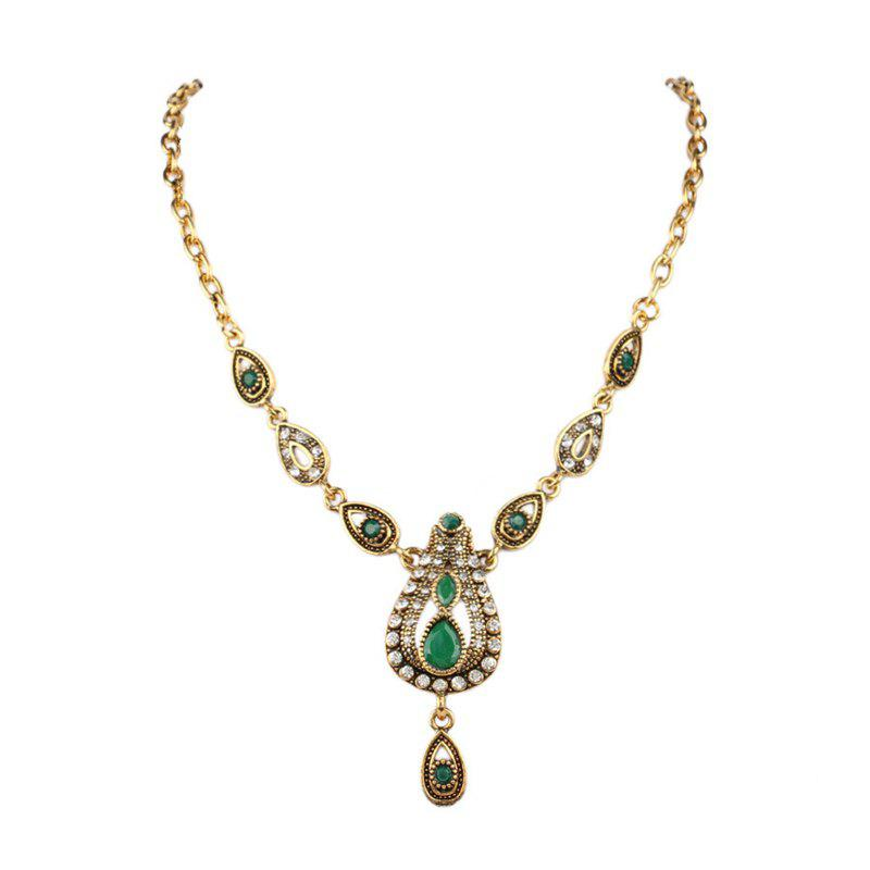 Fashion Exaggerated Diamond Green Ruby Drops Pendant Necklace Woman - GREEN