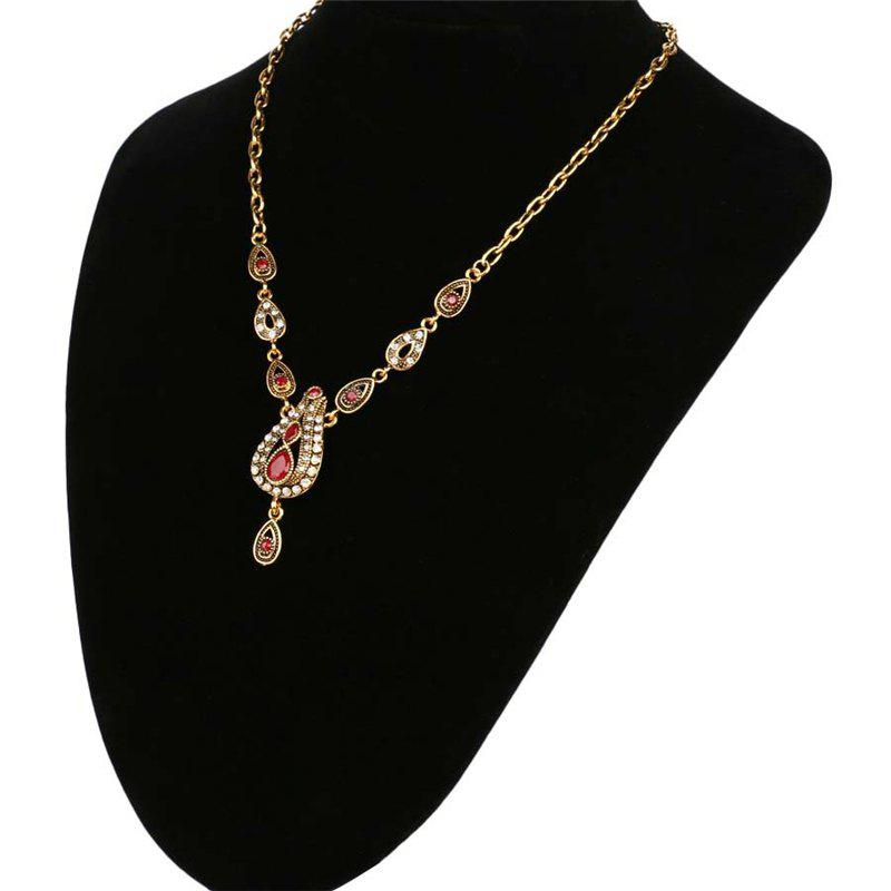 Fashion Exaggerated Diamond Green Ruby Drops Pendant Necklace Woman - RED