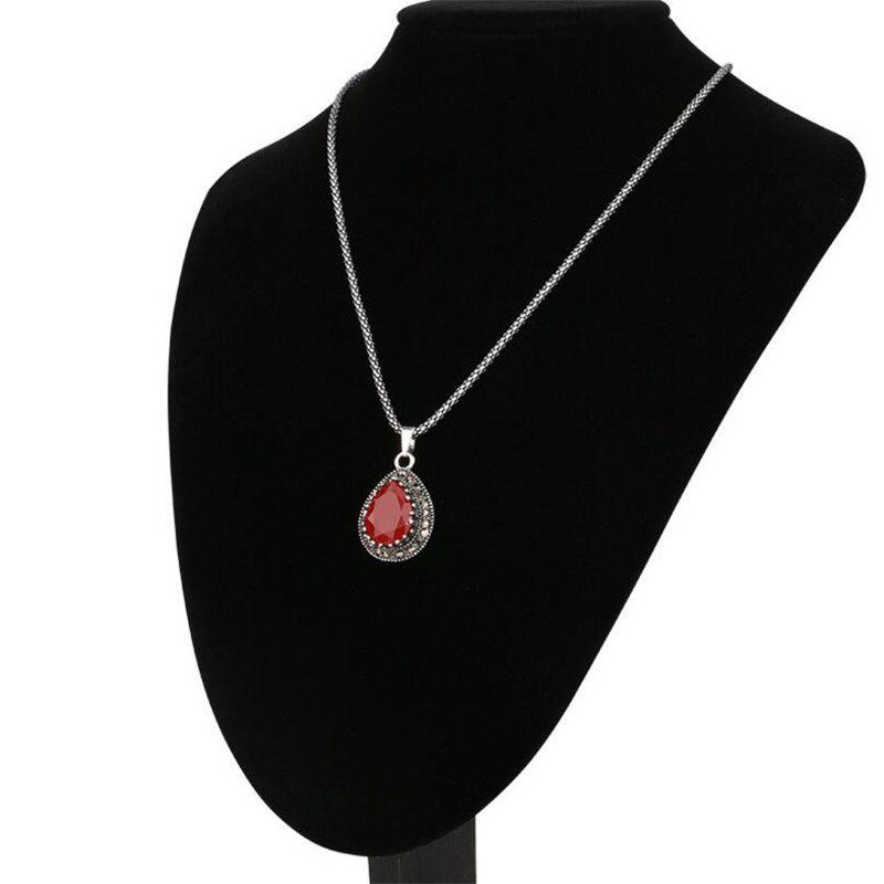 Fashion Diamond Red Emerald Drops Pendant Necklace Woman - RED