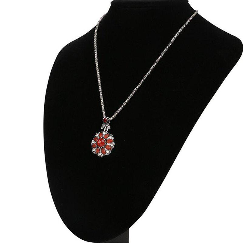 Fashion Diamond Red Sapphire Flower Pendant Necklace Woman - RED