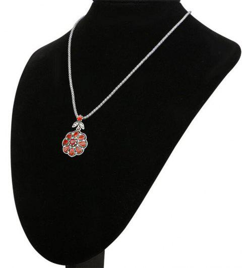 Fashion Diamond Drops Ruby Flower Pendant Necklace Woman - RED