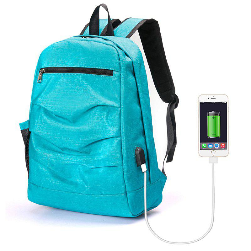 Laptop Backpack with USB Port - BLUE VERTICAL