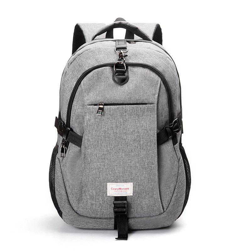 Men Durable Laptop Backpack with USB Port Student Bag - GRAY VERTICAL