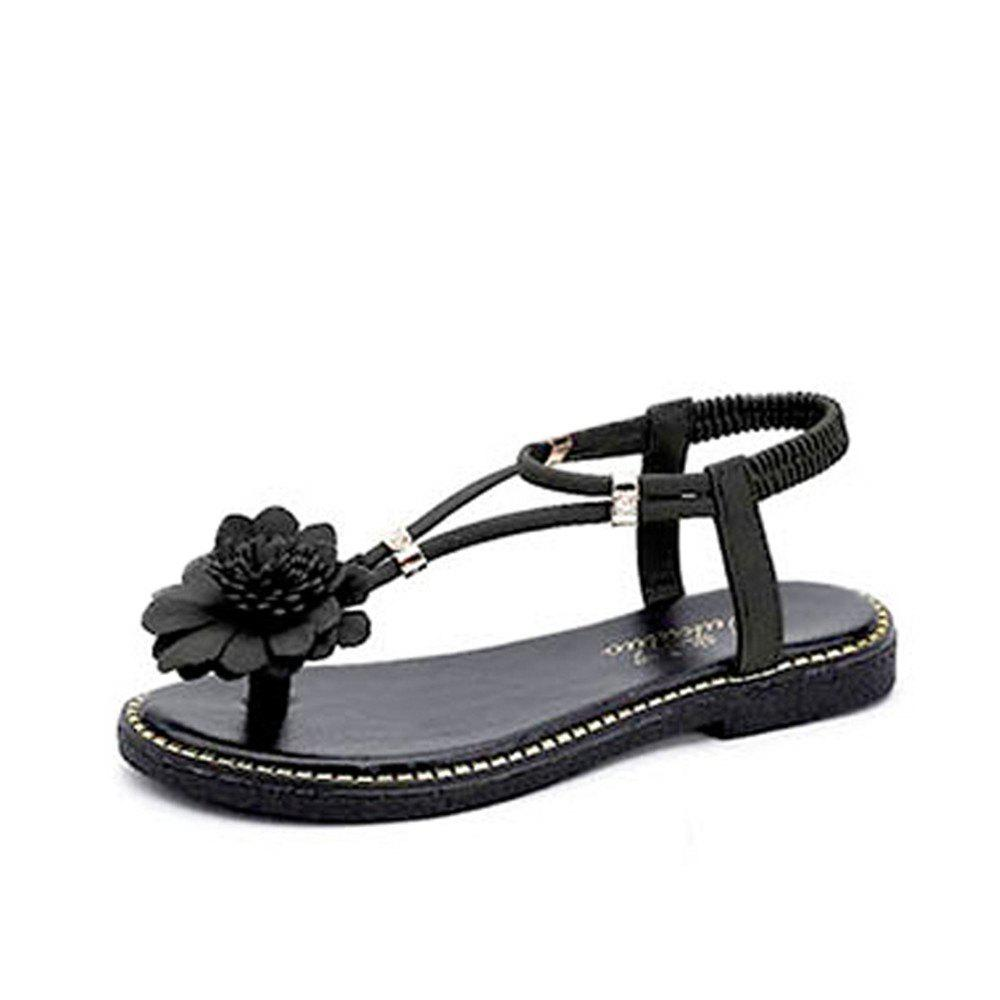 2018 Fashion Flower Flip Flops Sweet Flat Ladies Shoes Dark Forest