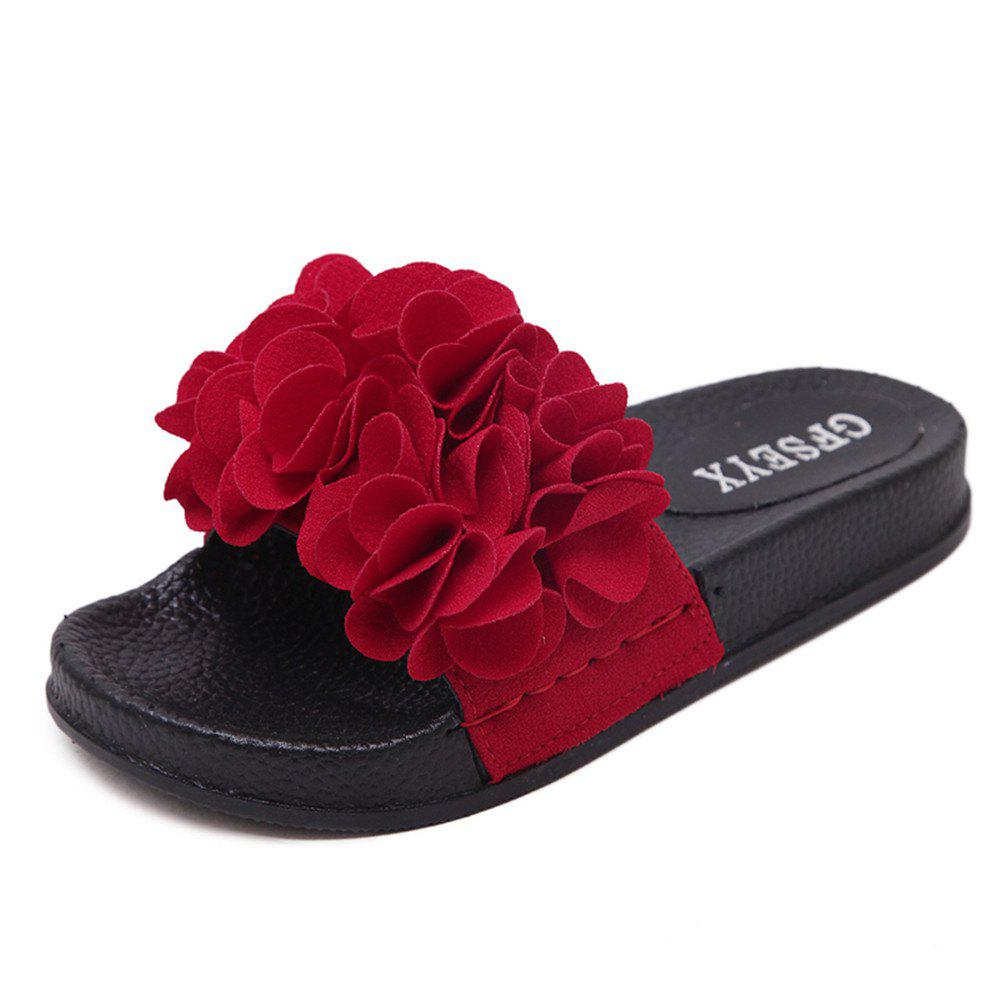Flat Flower Anti Skid Shoes - RED 43