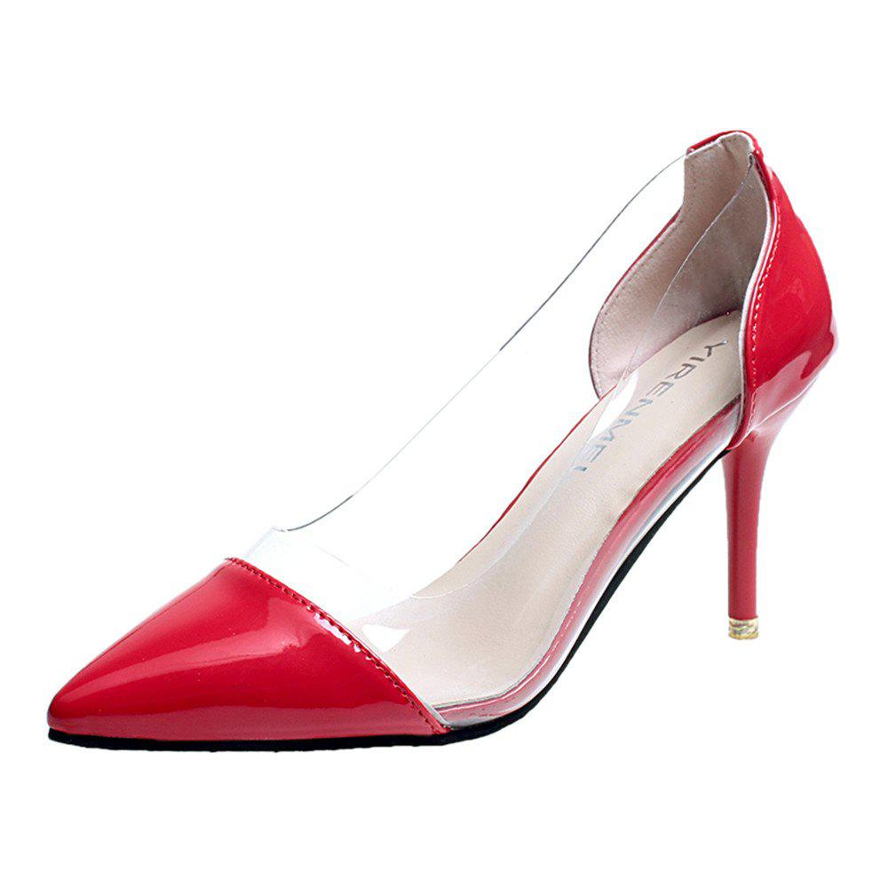 High Heels Pointy Head Transparent Stitching Women's Shoes - RED 39