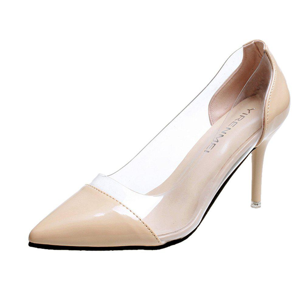 High Heels Pointy Head  Transparent Stitching  Women's Shoes - Apricot - 39