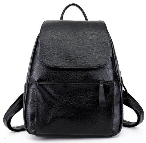 Pu Soft Leather Simple Small Backpack - BLACK