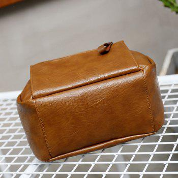 Pu Soft Leather Simple Small Backpack - OAK BROWN