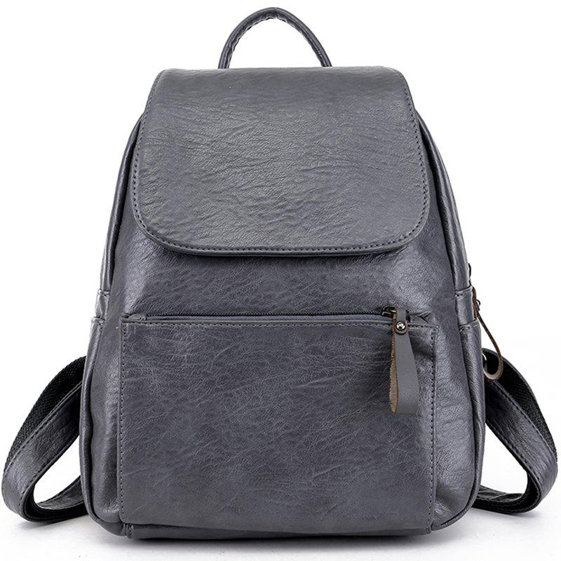 Pu Soft Leather Simple Small Backpack - GRAY