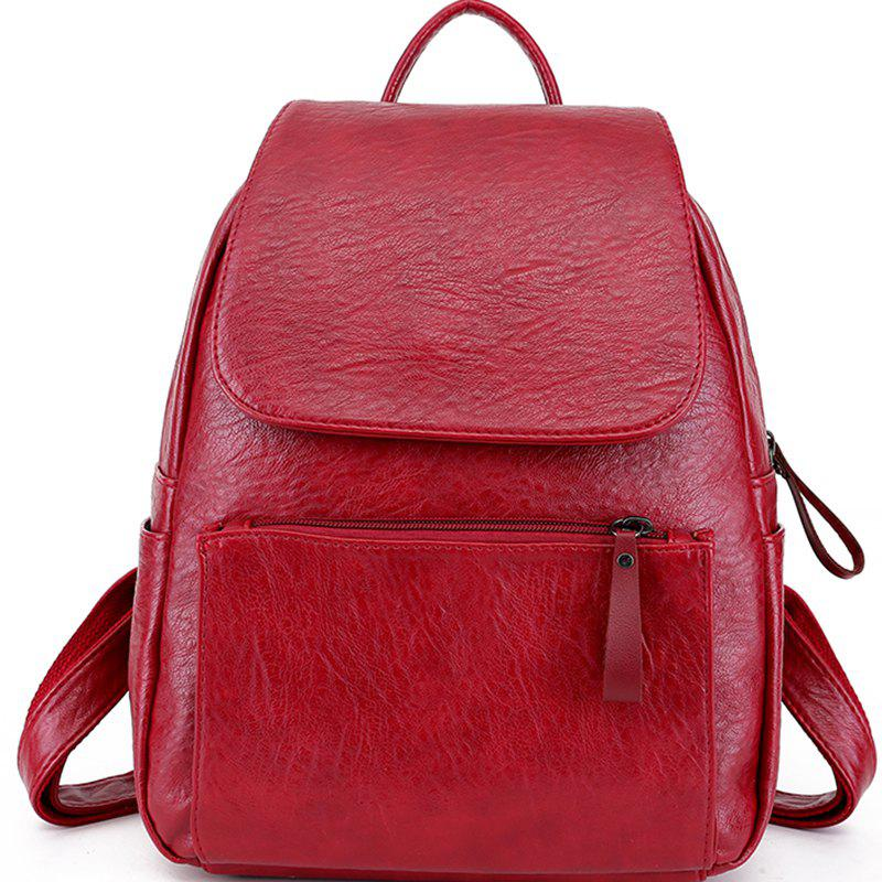 Pu Soft Leather Simple Small Backpack - LAVA RED