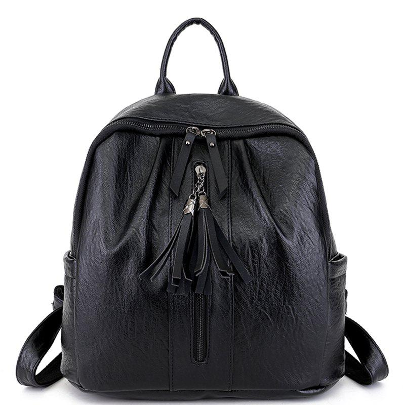 Pu Leather Simple Wild Tassel Bag - BLACK