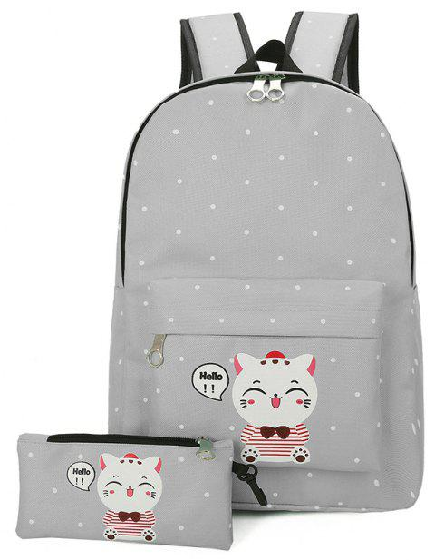Little Fresh Cartoon Cute Lynx Schoolbag Female - DARK GRAY