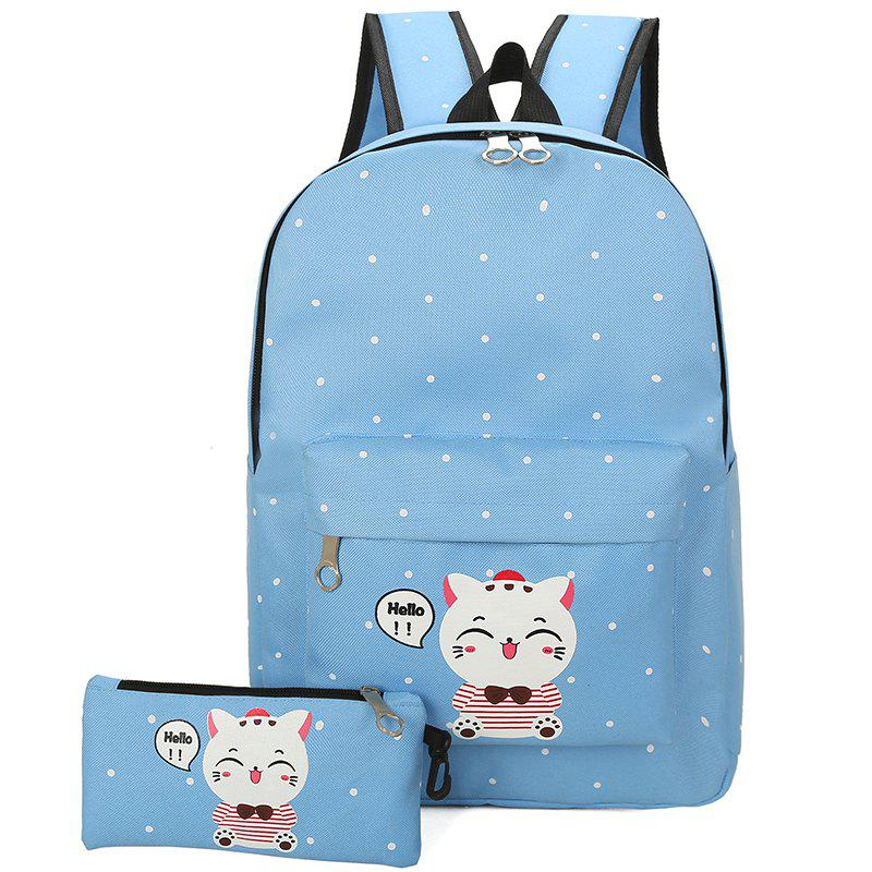 Little Fresh Cartoon Cute Lynx Schoolbag Female - CRYSTAL BLUE