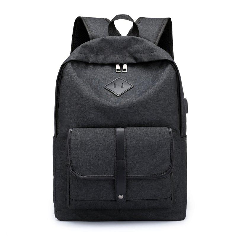 Anti-Theft 15.6 inch Laptop Backpacks Security USB Travel School Bag - BLACK