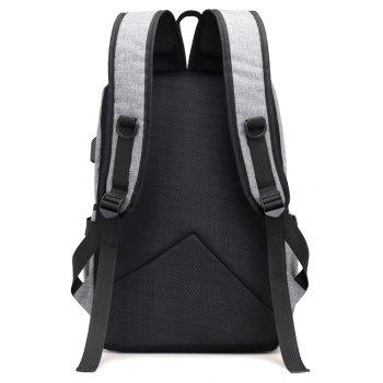 Men Backpack Anti-Theft External USB Charge Port For Laptop School Bags Male - BATTLESHIP GRAY