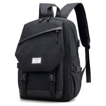 Men Backpack Anti-Theft External USB Charge Port For Laptop School Bags Male - BLACK
