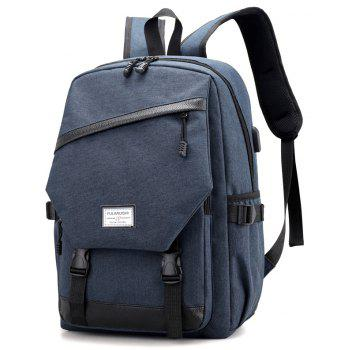 Men Backpack Anti-Theft External USB Charge Port For Laptop School Bags Male - BLUE JAY