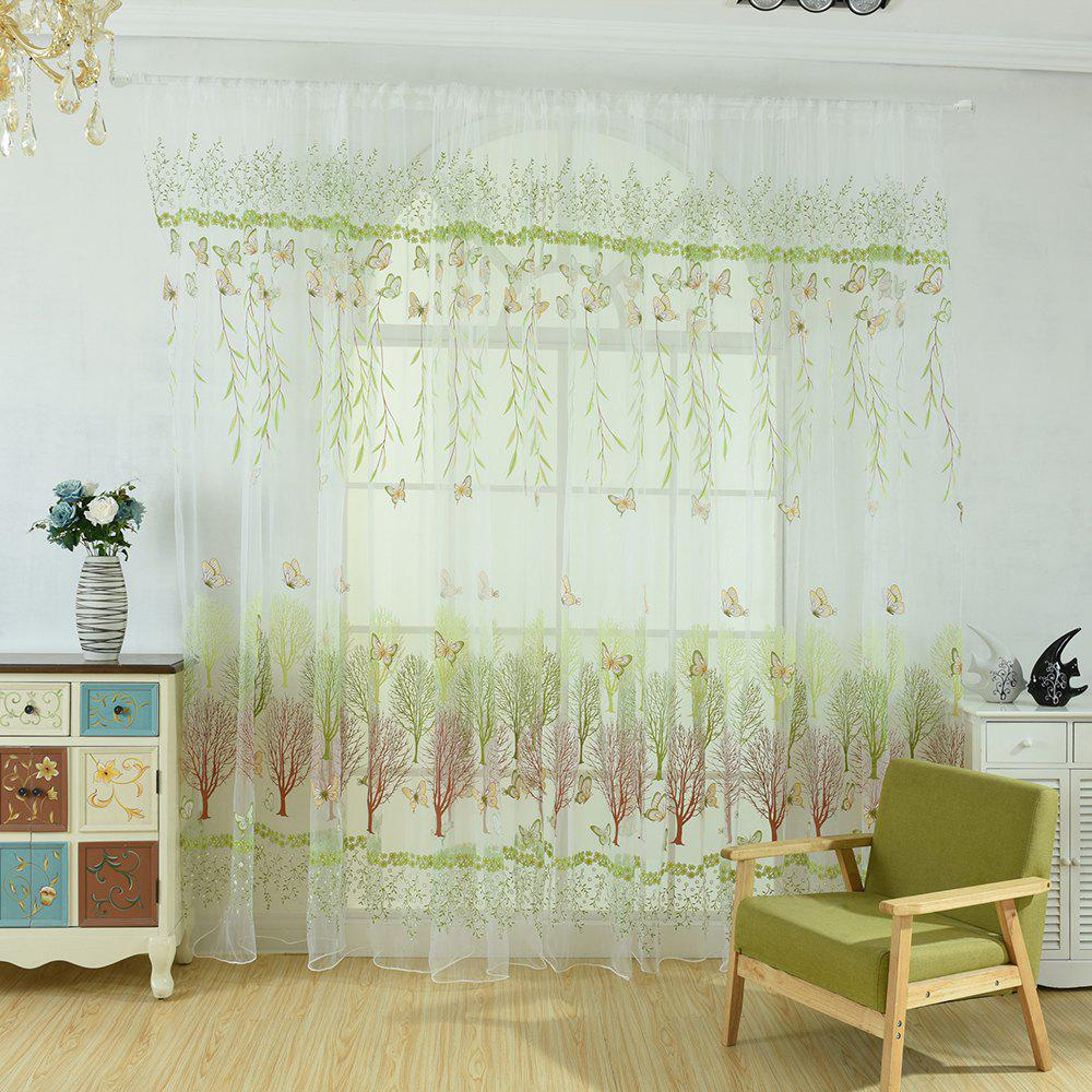 Willow Leaf Butterfly Glass Curtain Window Screen - GREEN THUMB 100X199CM